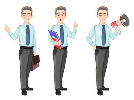 Handsome confident business man, set of three poses. Businessman cartoon character with briefcase, with documents and with loudspeaker. Stock vector Illusztráció