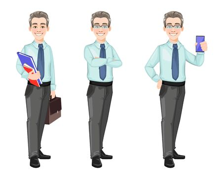 Handsome confident business man, set of three poses. Successful businessman cartoon character. Stock vector