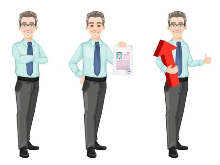 Handsome confident business man, set of three poses. Businessman cartoon character in office style clothes. Stock vector