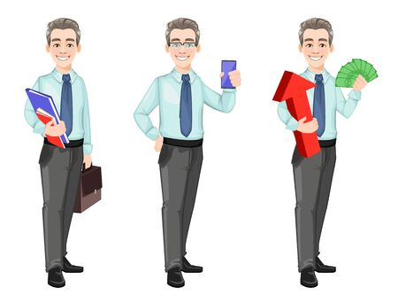 Handsome confident business man, set of three poses. Cheerful businessman cartoon character. Stock vector