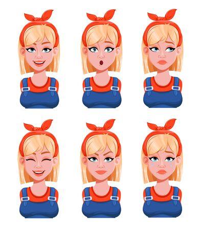 Expressions de visage de femme peintre. Ensemble d'émotions féminines différentes. Beau personnage de dessin animé. Illustration vectorielle isolée sur fond blanc.