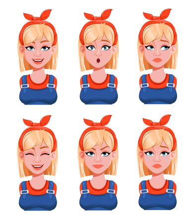 Face expressions of woman painter. Different female emotions set. Beautiful cartoon character. Vector illustration isolated on white background.