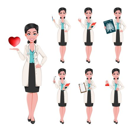 Medical doctor woman, set of seven poses. Attractive confident female doctor cartoon character. Stock vector