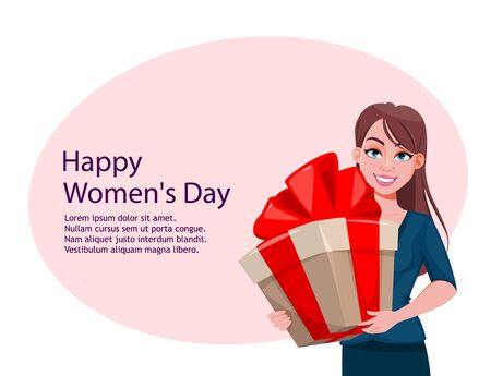 Happy Womens day greeting card. Beautiful lady with a big gift box. Cute female cartoon character. Stock vector illustration