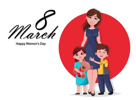 Happy Womens day greeting card. Beautiful mother with her kids. Happy family, cartoon characters. Stock vector illustration