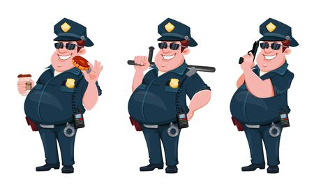 Police officer, set of three poses. Cheerful cartoon character policeman with donut and coffee, with rubber baton and with gun. Vector illustration on white background