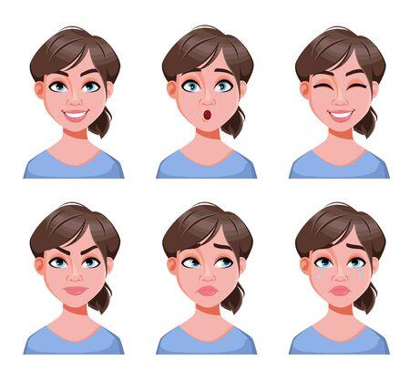 Expressions de visage de femme mignonne. Ensemble d'émotions féminines différentes. Personnage de dessin animé de belle dame. Illustration vectorielle isolée sur fond blanc.
