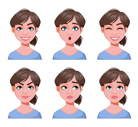 Gesichtsausdrücke der netten Frau. Verschiedene weibliche Emotionen eingestellt. Schöne Dame-Cartoon-Figur. Vektorillustration lokalisiert auf weißem Hintergrund.