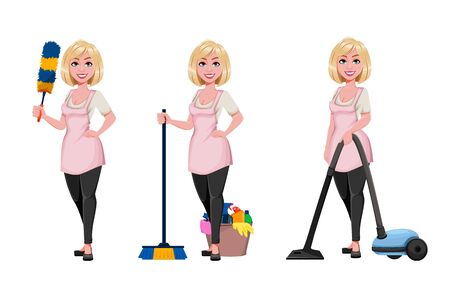 Housewife concept, young pretty stylish woman cleaning, set of three poses. Beautiful lady cartoon character. Stock vector 向量圖像