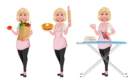 Housewife concept, young pretty stylish woman, set of three poses. Beautiful lady cartoon character. Stock vector