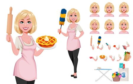 Housewife concept, young pretty stylish woman, pack of body parts, emotions and things. Beautiful lady cartoon character. Build your own design. Stock vector