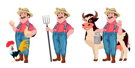 Farmer cartoon character, set of three poses. Cheerful farmer with chicken, with pitchfork and with cow. Stock vector isolated on white
