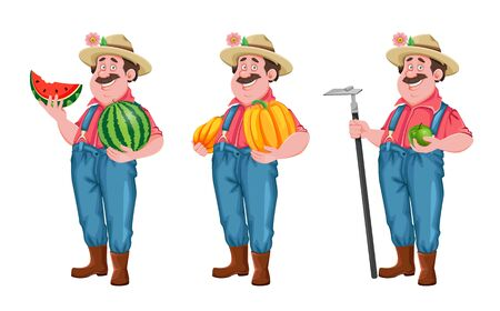 Farmer cartoon character, set of three poses. Cheerful farmer with watermelon, with pumpkin and with hoe. Stock vector isolated on white
