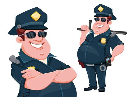Police officer, set of two poses. Cheerful cartoon character. Vector illustration on white background