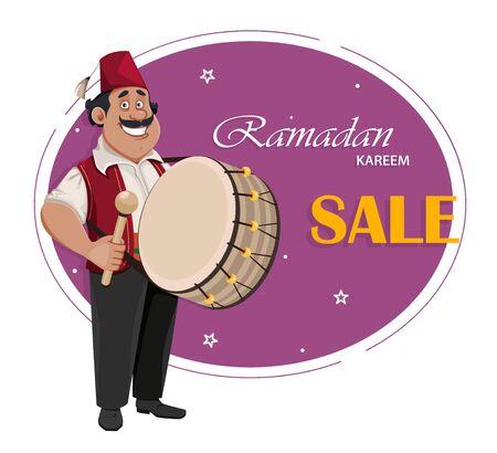 Ramadan Kareem greeting card. Ramadan drummer. Cheerful cartoon character with drum. Vector illustration