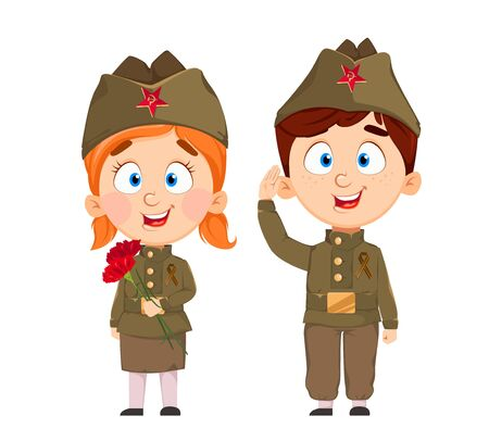 May 9. Cute boy and girl cartoon characters. Happy Victory day. Russian holiday. Vector illustration on white background