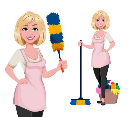 Housewife concept, young pretty stylish woman preparing for cleaning, set of two poses. Beautiful lady cartoon character. Stock vector