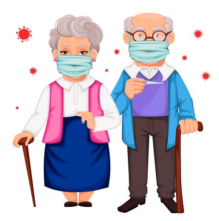 Elderly man and woman wearing a protective mask to prevent infections, respiratory diseases, such as coronavirus 2019-nCoV. Vector illustration on white background Ilustração