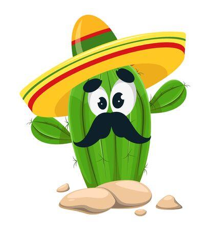 Cinco De Mayo. Funny cactus in sombrero. Cactus with mustache, cartoon character. Vector illustration
