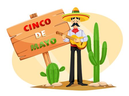 Cinco De Mayo greeting card with Mexican man in sombrero playing the guitar. Funny cartoon character. Vector illustration