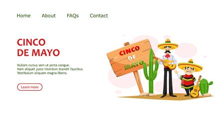 Cinco De Mayo greeting card with two cheerful Mexican men in sombrero and with guitar. Funny cartoon characters, usable for landing page, website etc. Vector illustration Ilustración de vector