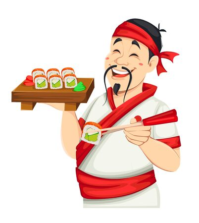 Asian chef holding sushi. Handsome Japanese cook cartoon character. Vector illustration.  イラスト・ベクター素材