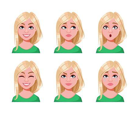 かわいいブロンドの女性の顔の表情。異なる女性の感情、6つのポーズのセット。美しい女性の漫画のキャラクター。白い背景に分離されたベクターイラスト。