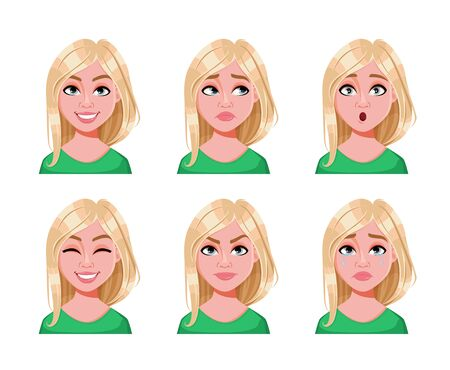 Face expressions of cute blonde woman. Different female emotions, set of six poses. Beautiful lady cartoon character. Vector illustration isolated on white background.