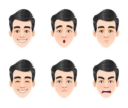 Expressions du visage d'un bel homme aux cheveux noirs. Six émotions masculines différentes, définies. Personnage de dessin animé de jeune homme. Illustration vectorielle isolée sur fond blanc. Vecteurs