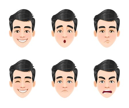 Face expressions of handsome man with dark hair. Six different male emotions, set. Young guy cartoon character. Vector illustration isolated on white background. Ilustrace