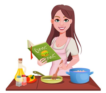 Woman cooking at home. Smiling girl preparing food. Beautiful lady cartoon character. Vector illustration on white background