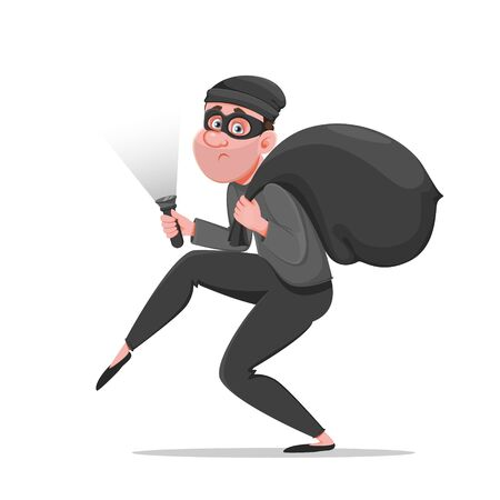 Cartoon thief walking carefully, bandit carries sack with money. Funny burglar. Vector illustration on white background Çizim