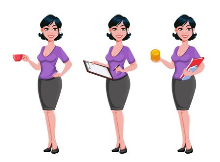 Young beautiful business woman, set of three poses. Cute businesswoman cartoon character with stylish haircut. Vector illustration on white background Ilustração Vetorial