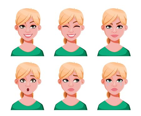 Face expressions of cute blonde doctor woman. Different female emotions, set of six poses. Beautiful lady cartoon character. Vector illustration isolated on white background.