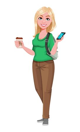 Young happy student girl holding smartphone and coffee. Cheerful female teenager student cartoon character. Vector illustration
