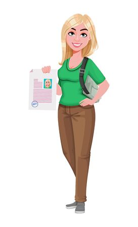 Young happy student girl holding signed document. Cheerful female teenager student cartoon character. Vector illustration