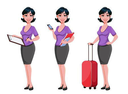 Young beautiful business woman, set of three poses. Cute businesswoman cartoon character with stylish haircut. Vector illustration