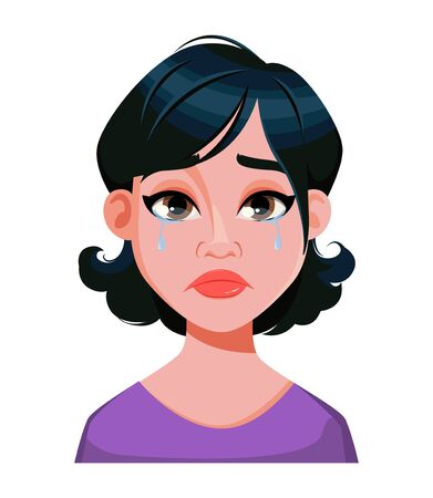 Face expression of woman with stylish haircut, crying. Female emotion. Cute cartoon character. Vector illustration isolated on white background. Иллюстрация