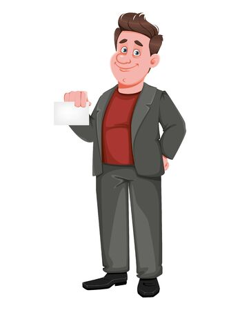 Smiling middle aged businessman holding blank card. Happy handsome business man cartoon character. Vector illustration Vectores