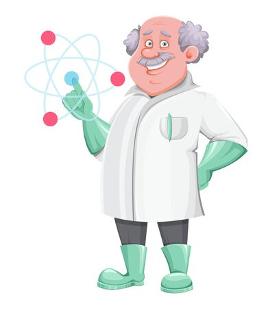 Professor cartoon character showing on atom sign. Usable also as scientist, chemist, laboratory assistant, inventor, teacher etc. Vector illustration on white background