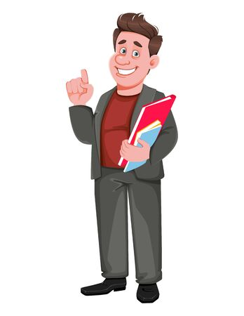 Smiling middle aged businessman holding documents. Happy handsome business man cartoon character. Vector illustration