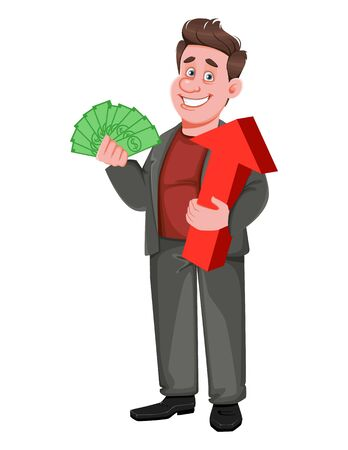 Smiling middle aged businessman holding money and red arrow. Happy handsome business man cartoon character. Vector illustration