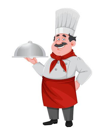 Handsome chef cartoon character. Cheerful cook in professional uniform.  Vector illustration