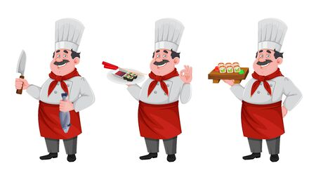 Handsome chef cartoon character, set of three poses. Cheerful cook in professional uniform preparing sushi rolls. Vector illustration Vecteurs