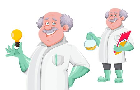 Professor cartoon character, set of two poses. Usable also as scientist, chemist, laboratory assistant, inventor, teacher etc. Vector illustration
