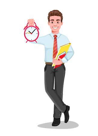 Successful business man with alarm clock. Handsome businessman in business clothes. Cheerful cartoon character. Vector illustration on white background