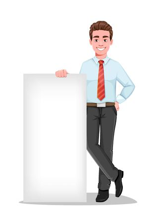 Successful business man standing near blank banner. Handsome businessman in business clothes. Cheerful cartoon character. Vector illustration on white background