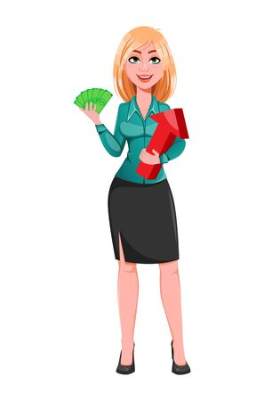 Young successful business woman holding money and red arrow. Blond businesswoman cartoon character. Vector illustration on white background