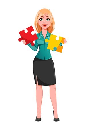 Young successful business woman holding two pieces of puzzle. Blond businesswoman cartoon character. Vector illustration on white background