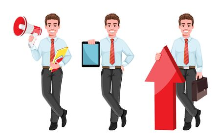 Successful business man, set of three poses. Handsome businessman in business clothes with loudspeaker, with tablet and standing near big arrow. Cheerful cartoon character. Vector illustration
